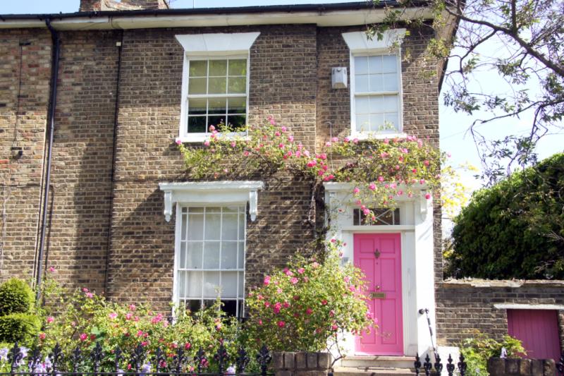 pink door in East London
