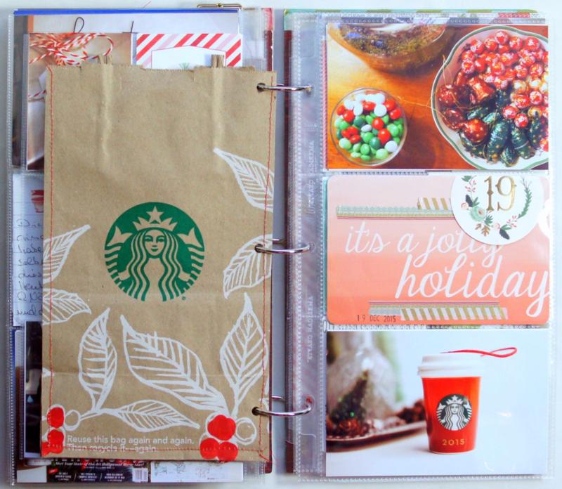 """Starbucks Tüte im December Daily 2015 Dezembertagebuch 6x12"""""""