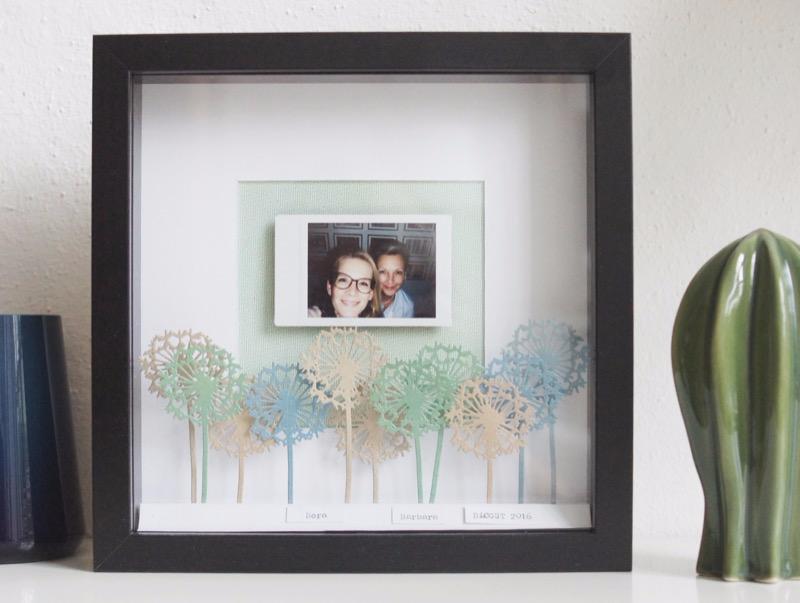 Home DEco IKEA Ribba RAhmen mit Fuji Instaxfoto und Sizzix Blumen