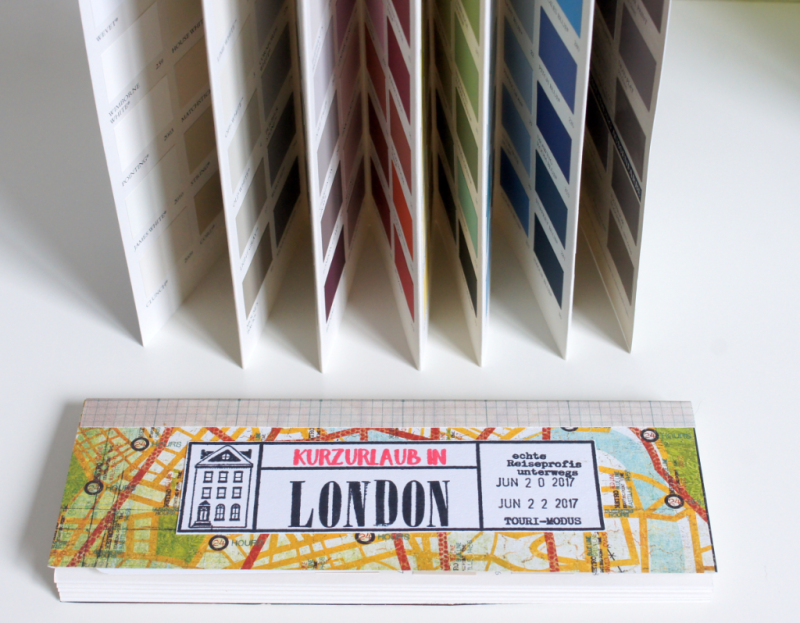 DIY London Traveljournal aus Farbfächer
