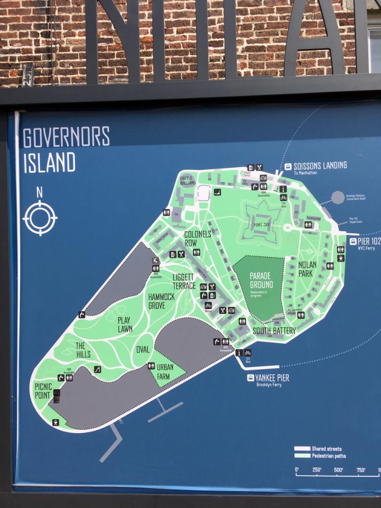 Übersichts Karte von Governers Island