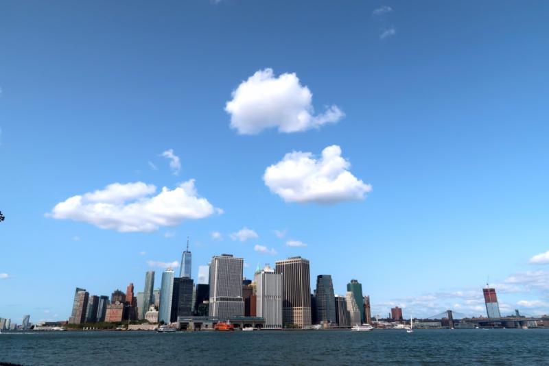 Blick von Governers Island auf Battery Park