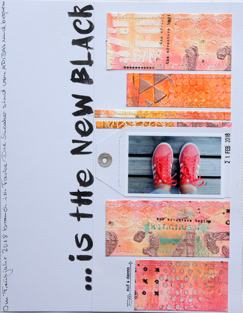 Scrapbooking Layout mit Mixed Media Hintergrund