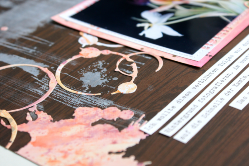 Scrapbooking Layout with Sizzix Paint Splats Sizzix Coffee Marks
