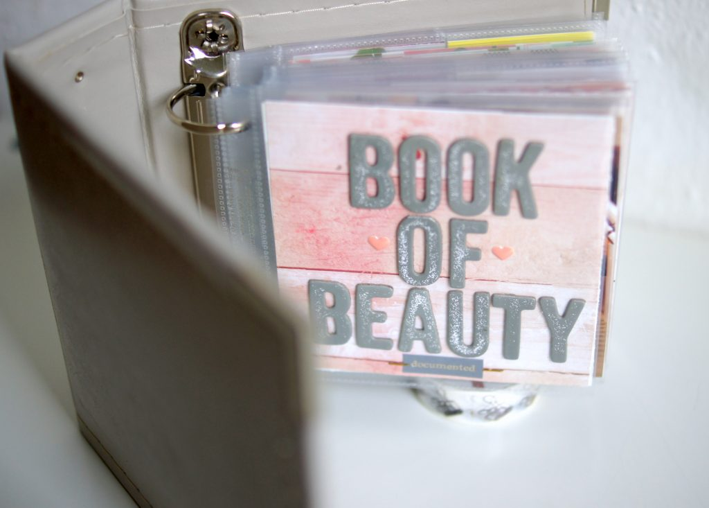 Book of Beauty Mini Scrapbook über kosmetische Pflegeprodukte
