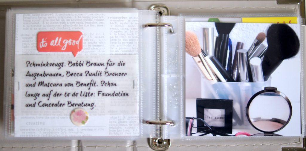 Book of Beauty Mini Scrapbook über kosmetische Pflegeprodukte Innenseiten