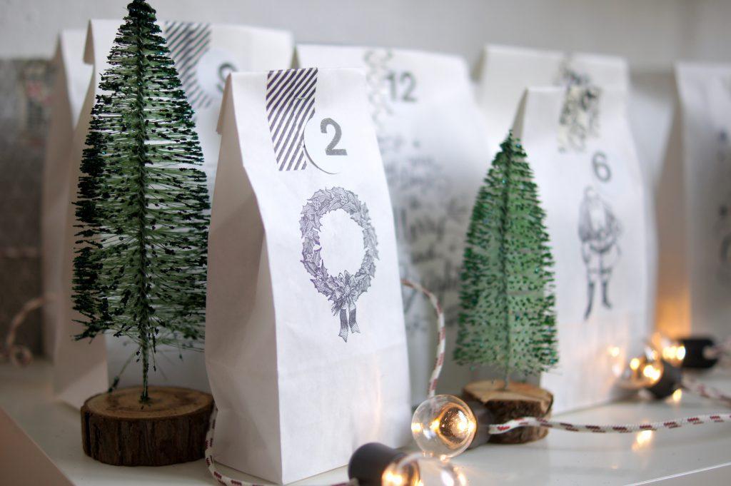 schneller Adventskalender mit Tüten, Stempeln und Washi Tape