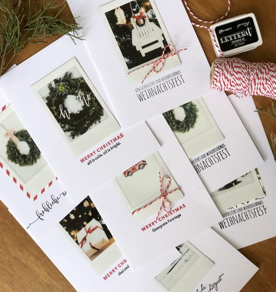 Schnelle Weihnachtskarten mit Fuji Instax Prints und Stempeln