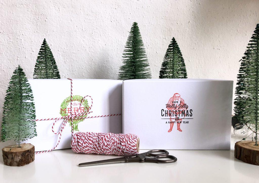 Buntbox Geschenkschachteln mit Stempeln Weihnachten