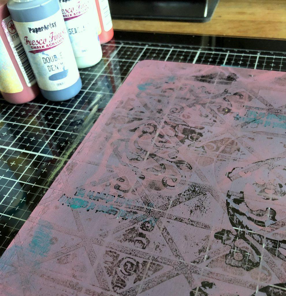 Drucken mit der Gel Press erster Farbauftrag