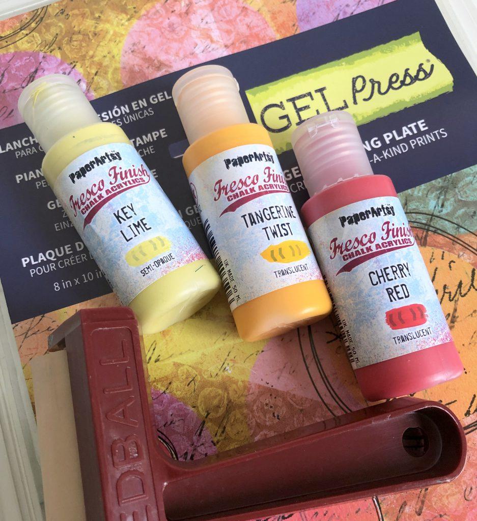 Gel Press mit Farbwalze und Acrylfarbe