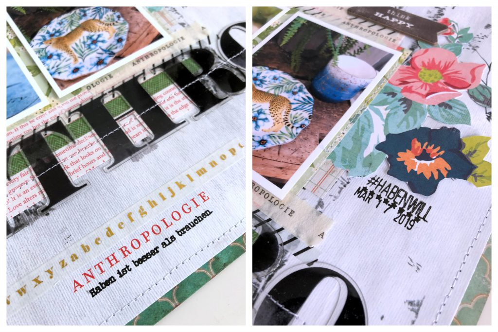 Verpackungsmaterial auf Scrapbooking Layout Klartext Stempel Anthropologie Tüte