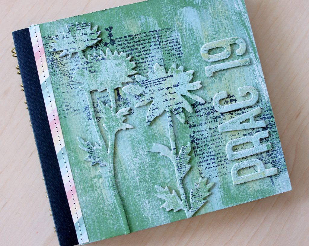 Scrapbooking Album mit Stanzschablone Large Stems von Sizzix Tim Holtz