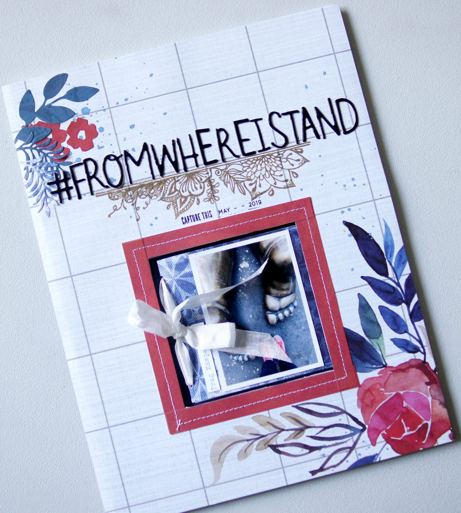 Scrapbooking Layout mit integriertem Minibiook Blue Batik Papier