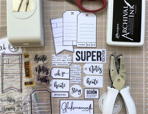 Embellishments selbermachen mit Klartext Stempeln