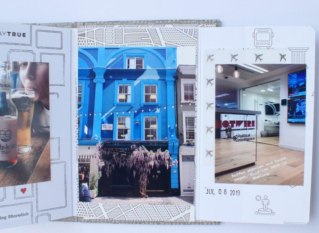 Scrapbooking Minibook London Innenseiten mit Stempeln