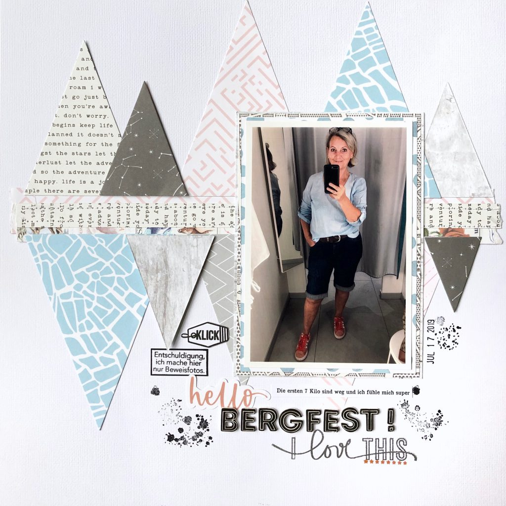 Scrapbooking Layout mit Dreiecken Papiere Studio Forty