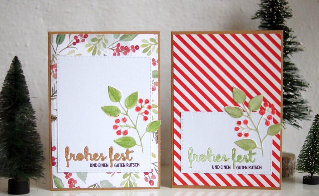 Weihnachtskarten mit gemustertem Papier und Stempeln