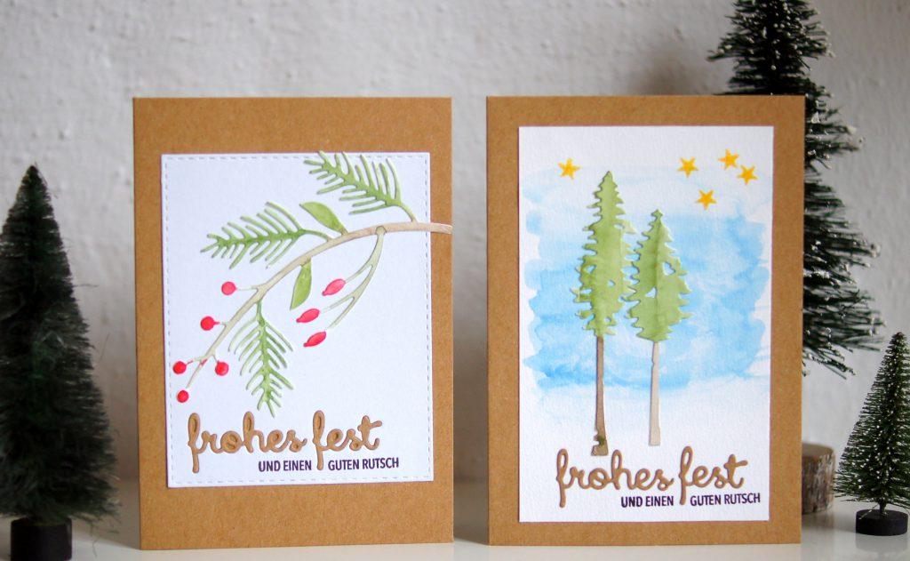 Weihnachtskarten 2019 mit Stanzen und Stempeln