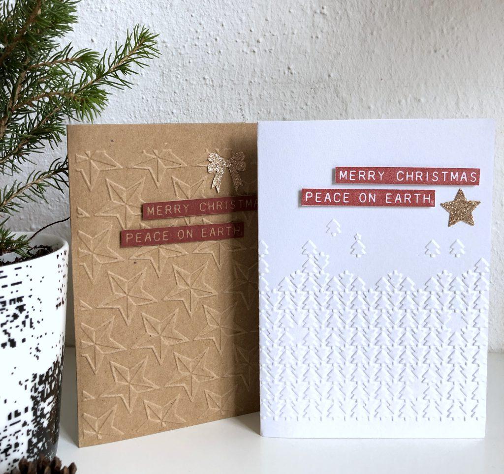 Weihnachtskarten mit Embossing Folder