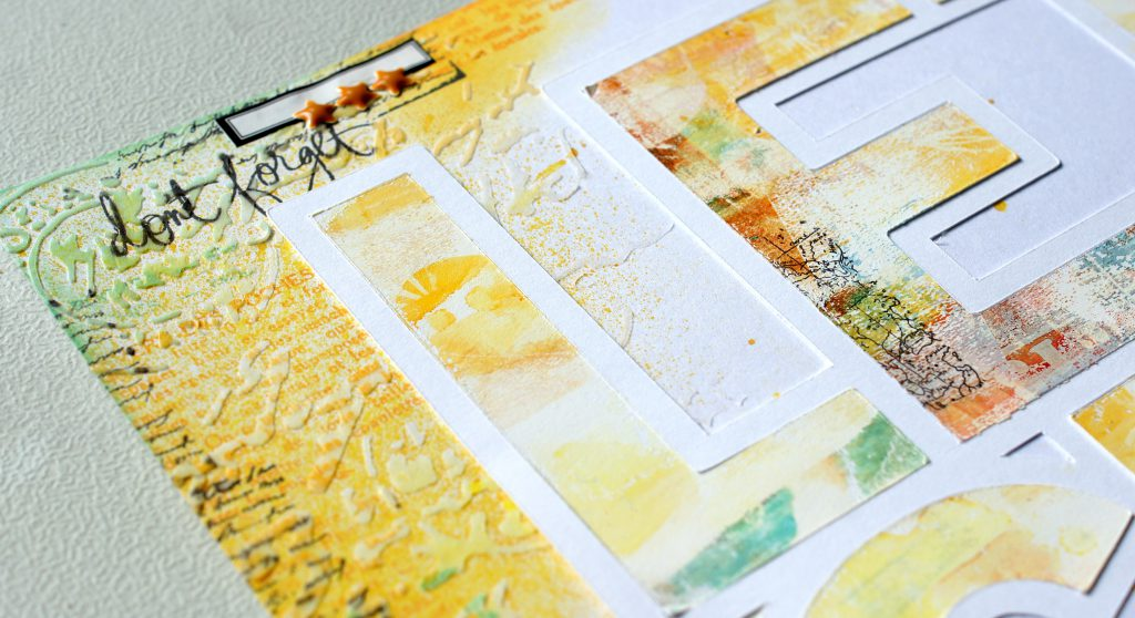 Mixed Media Layout mit Cutfile und Alcohol Inks Gelpress Druck