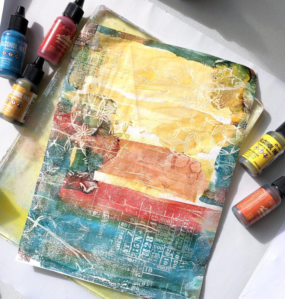 Anleitung Gel Press mit Alcohol Ink auf Seidenpapier