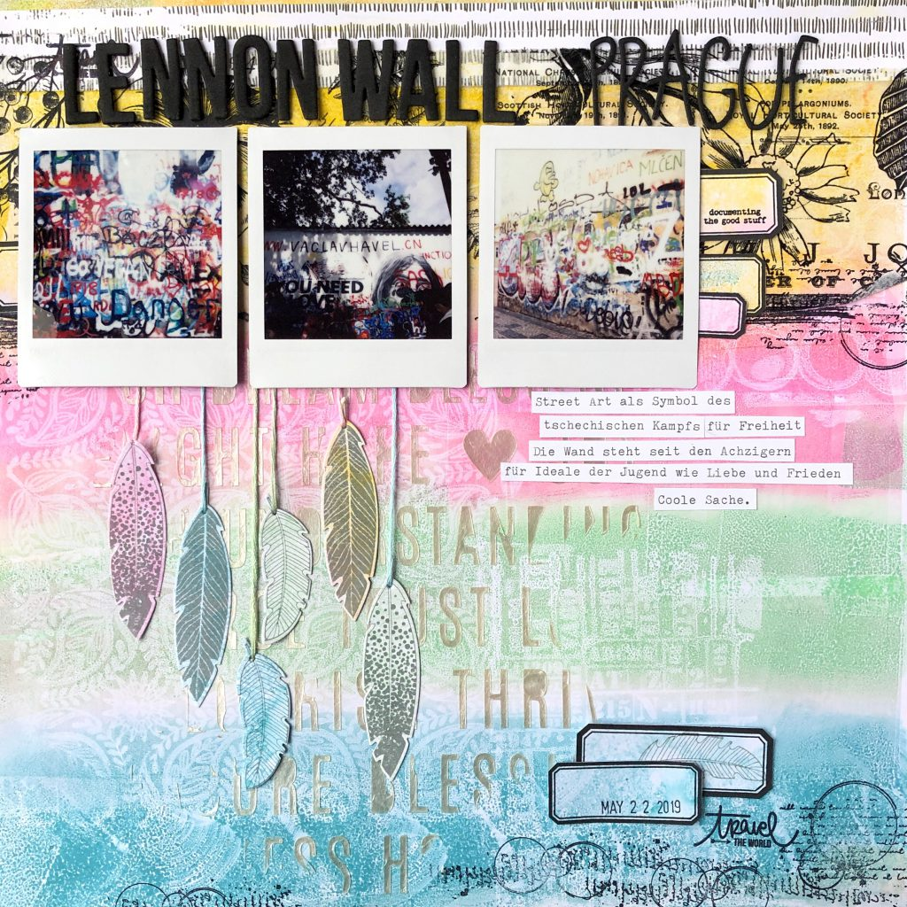 Mixed Media Scrapbooking Layout Gel Press Technik