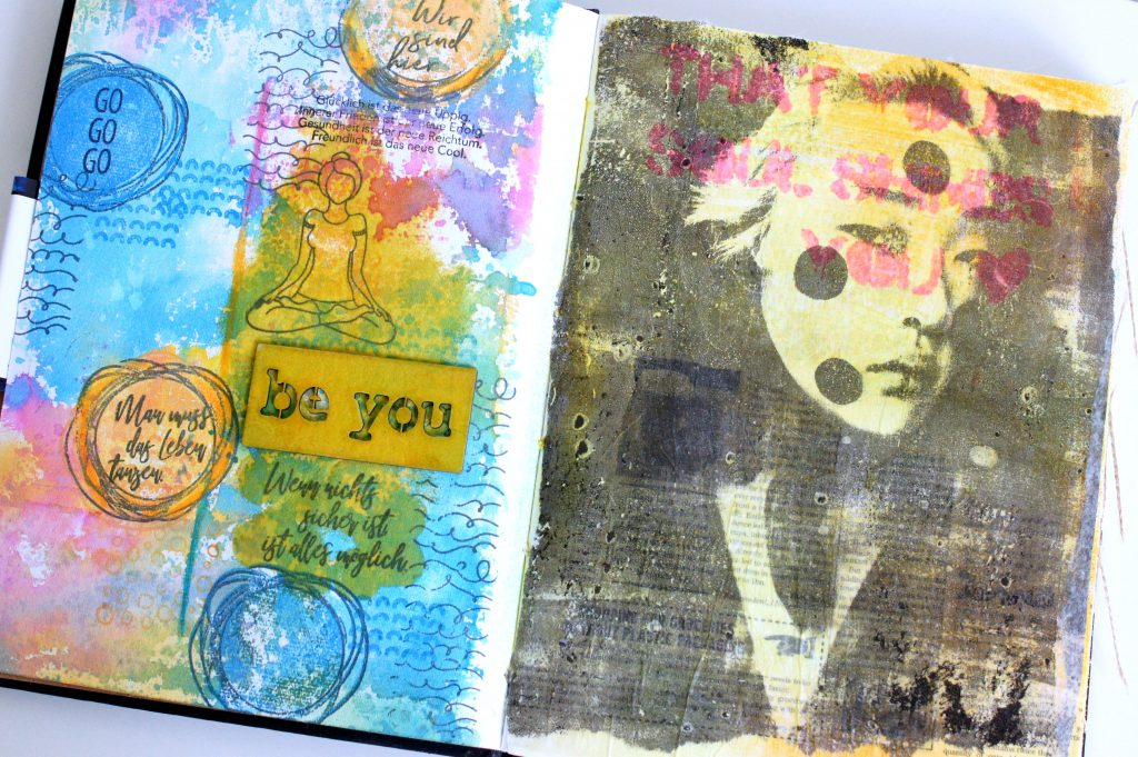 Art Journal Seite mit Distress Oxide Inks