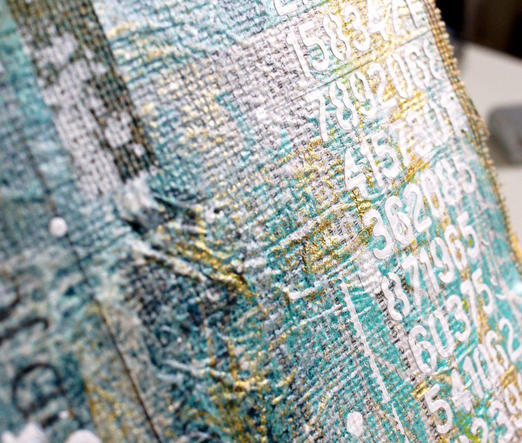Art Journal Mixed Media Acryl Golden Flakes Gel