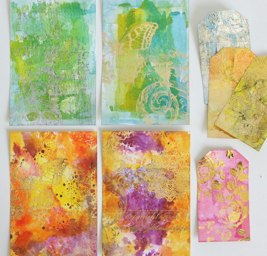 Karten mit Distress Ink Dip Technik von Tim Holtz