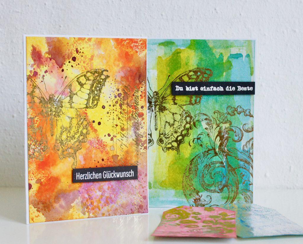 Karten mit Distress Ink und Minc Toner Ink Stempeln