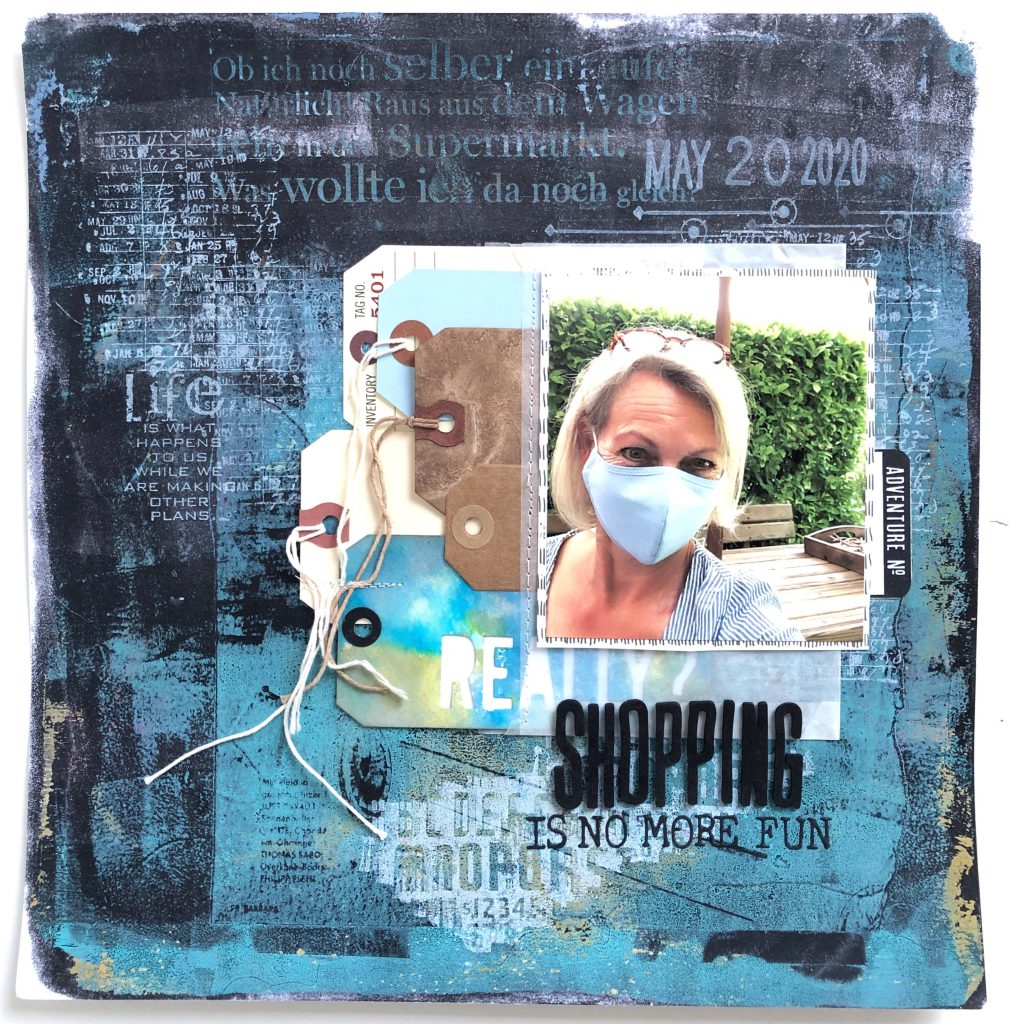Scrapbooking Layout Gelpress Transfer Technik Corona