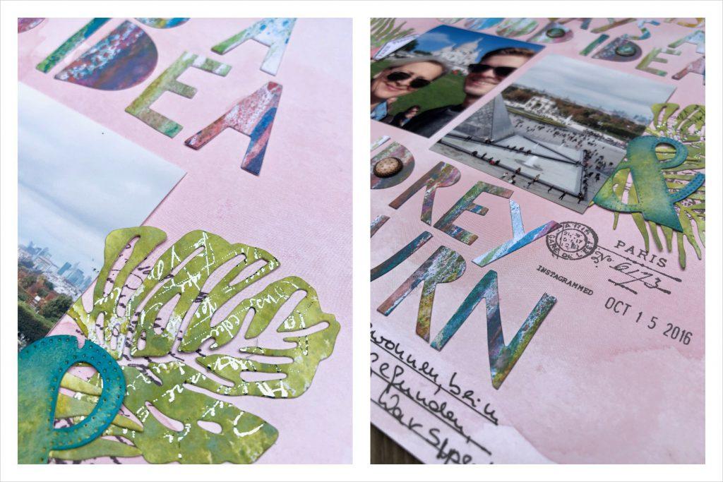 Scrapbooking Layout mit selbstgestalteten Buchstaben und Minc Folie