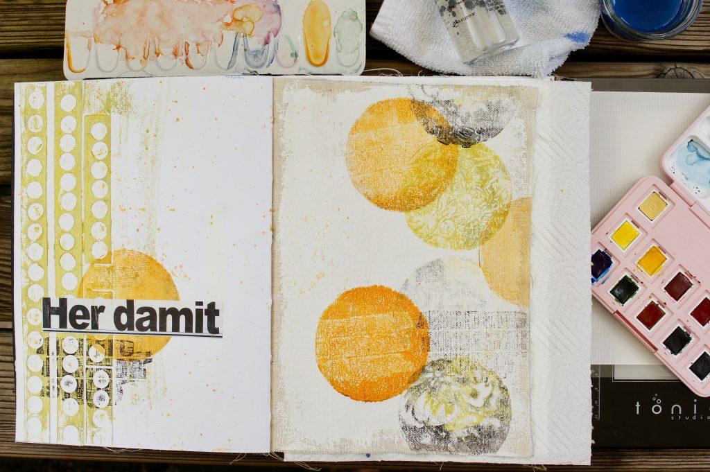 Art Journal Seite Gelpress rund