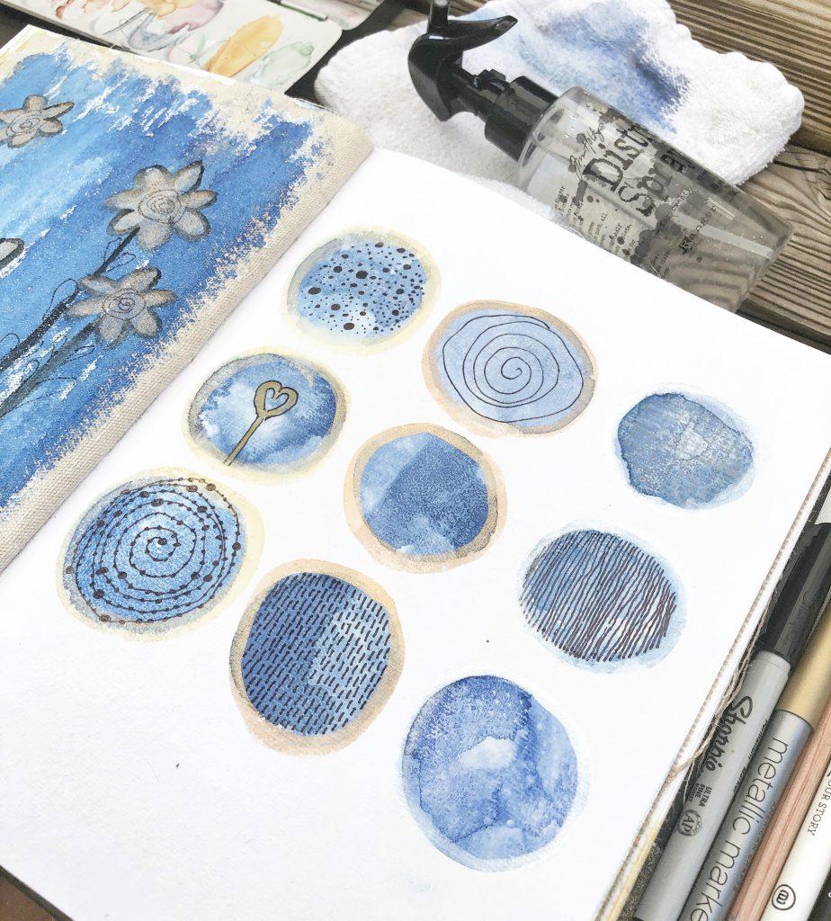 Art Journal Aquarell mit Doodle