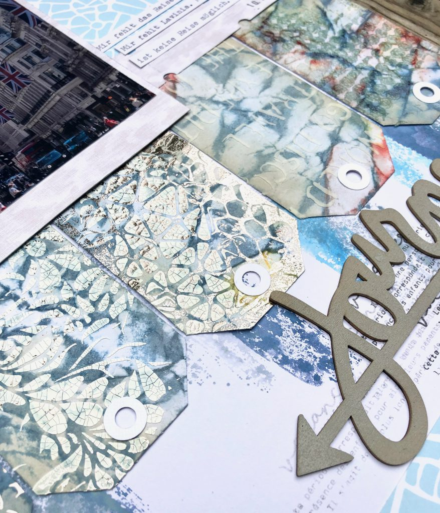 Scrapbooking Layout mit Mixed Media Tags