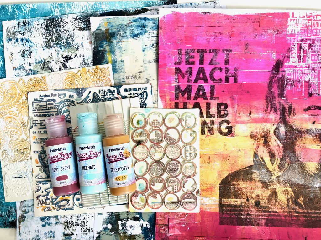 Gel Press Hintergrund Scrapbooking Layout