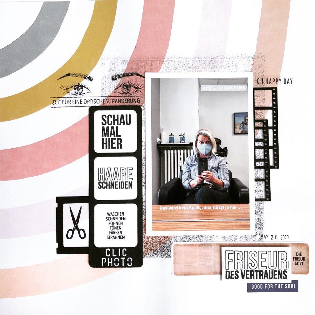 Scrapbooking Layout Friseur mit Heidi Swapp Minc Folie Resten und Klartext Stempeln