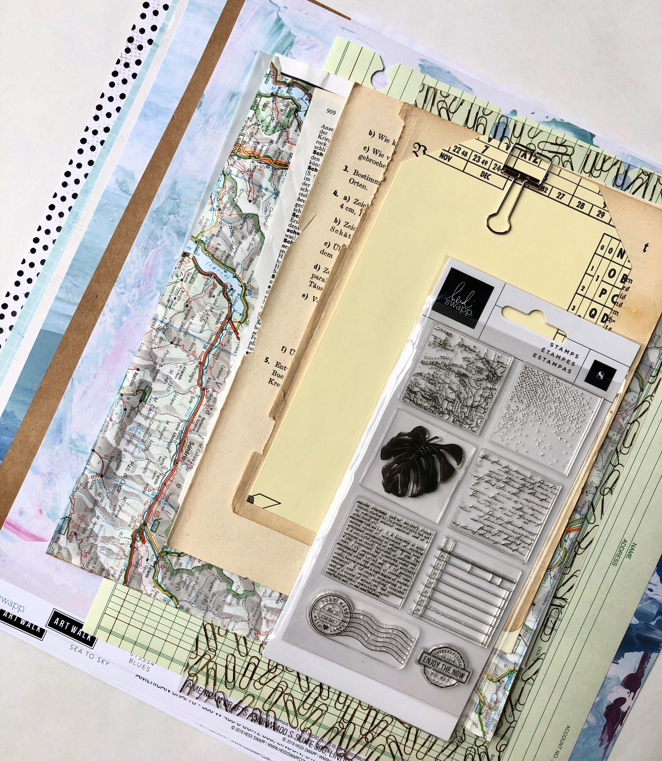 Material für selbstgebundenes Junk Journal