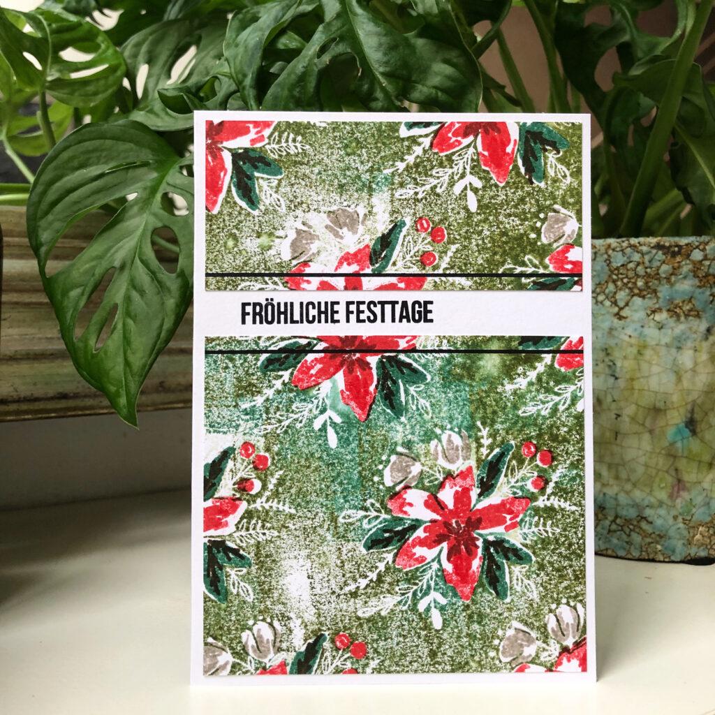 Weihnachtskarte selbstgemacht gestempelt