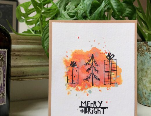 Weihnachtskarte Aquarell Tim Holtz Seasonal Scribbles