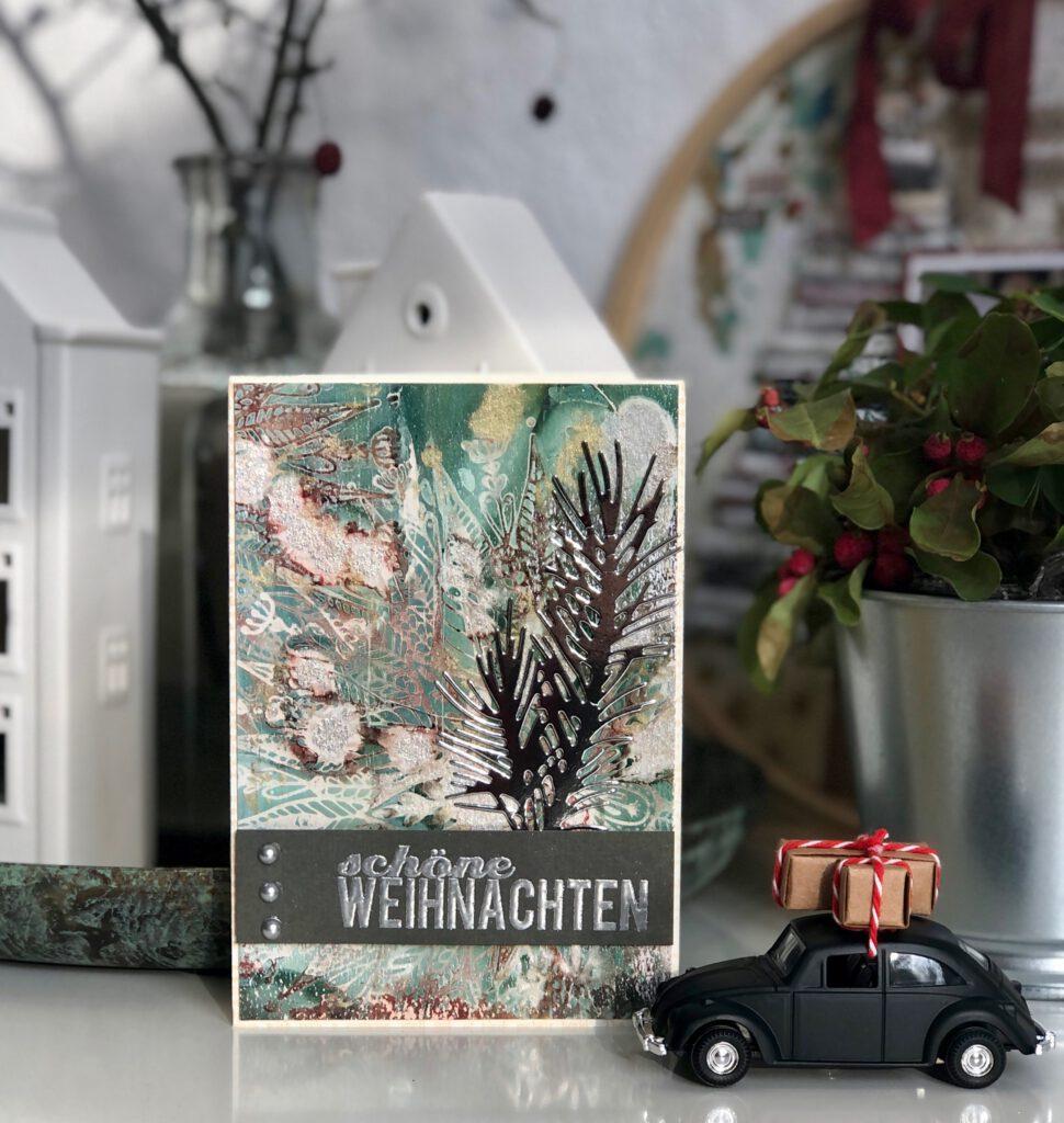 Weihnachtskarte Gelpress Hintergrund