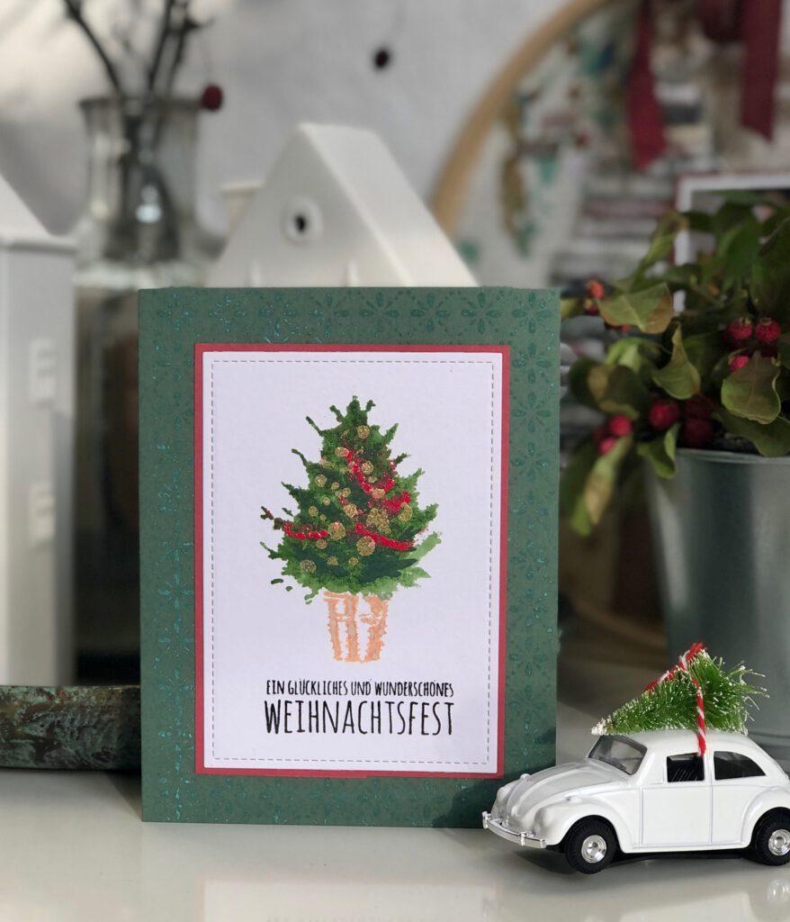 Weihnachtskarte 2020 Weihnachtsbaum Tim Holtz Stempel