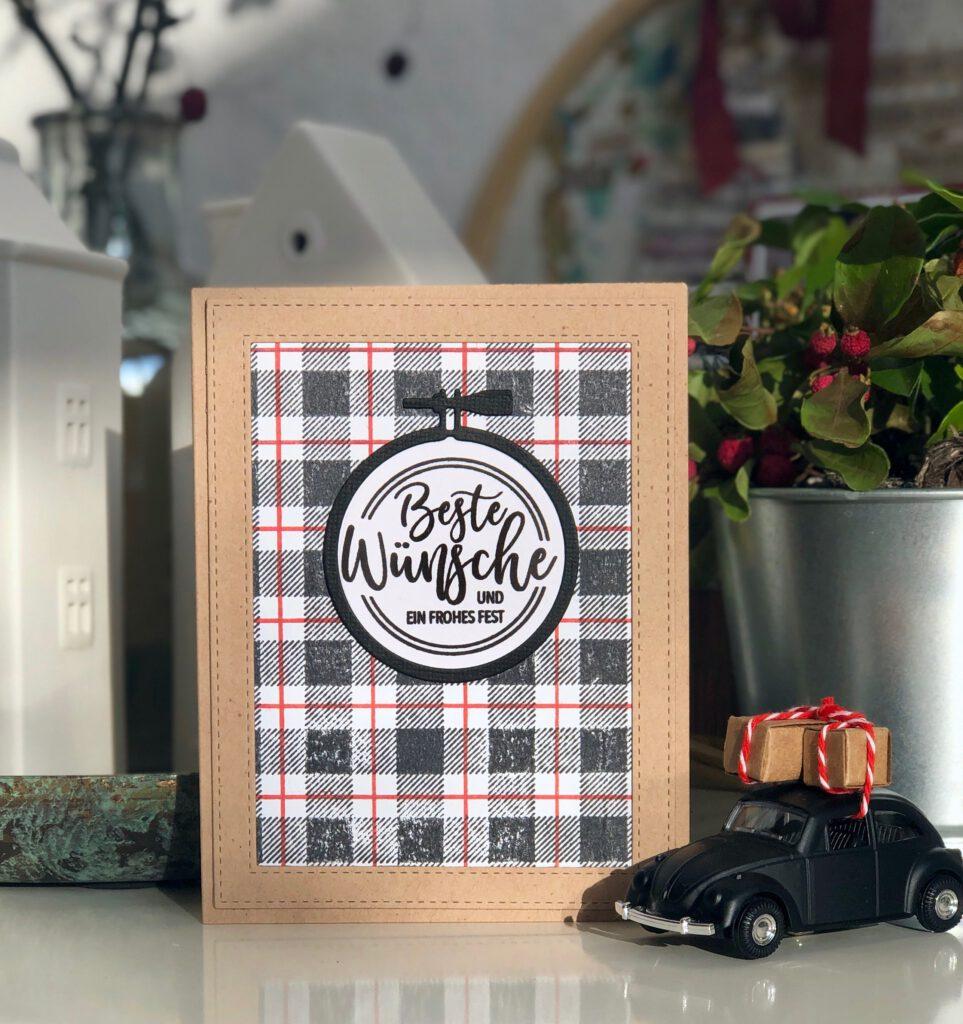 Weihnachtskarte 2020 Stickrahmen Dani Peuss Stempel