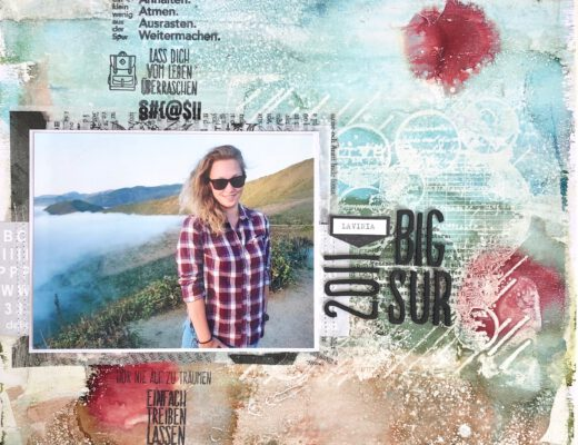 Mixed Media Scrapbooking Layout Gelpress Alcohol Ink
