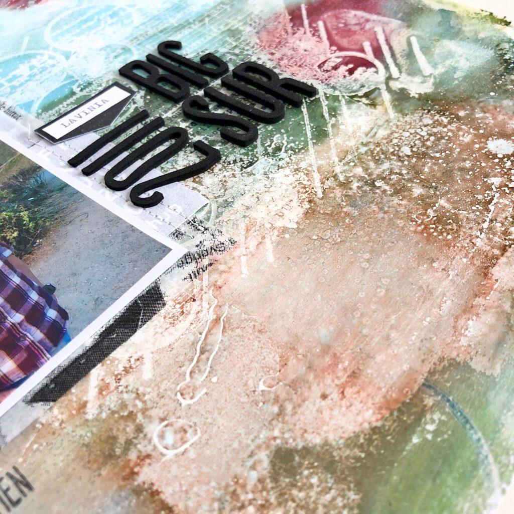 Alcohol Inks auf Gelpress Platte mit Alkohol gesprüht
