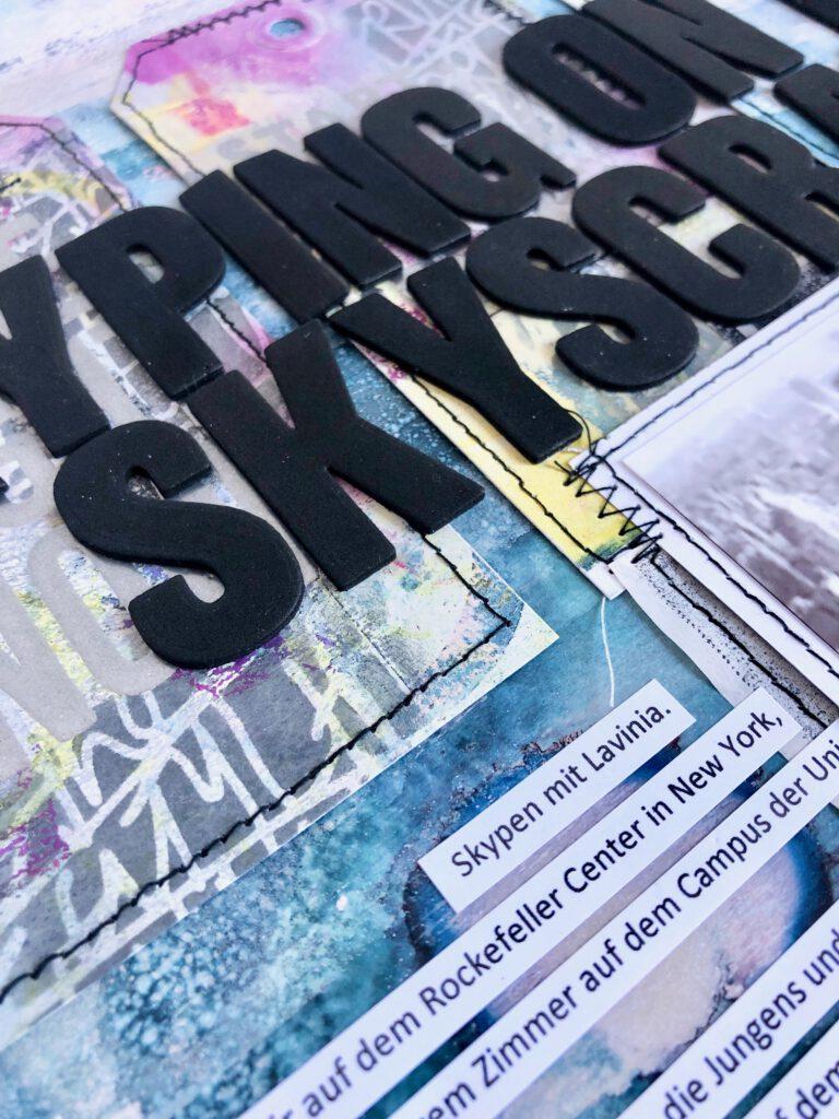 Mixed Media Layout Gelpress Technik Hintergrund