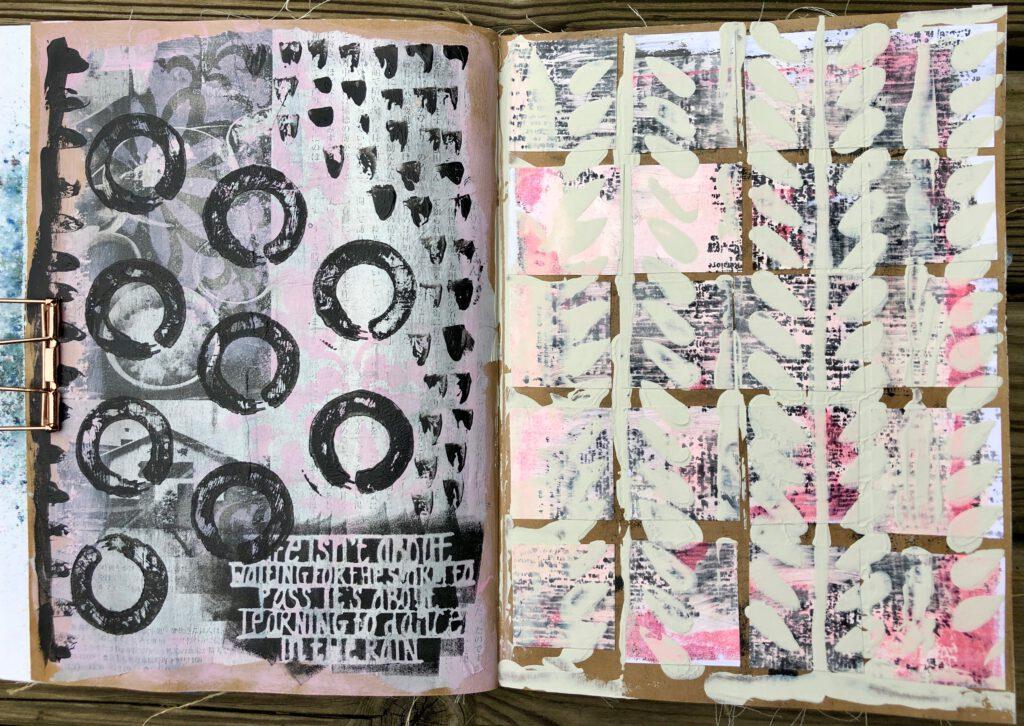 Art Journal Acrylfarbe auf Kraftpapier