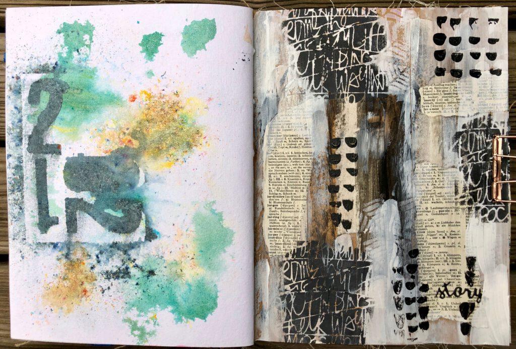 Art Journal Acrylfarbe Collage auf Kraftpapier