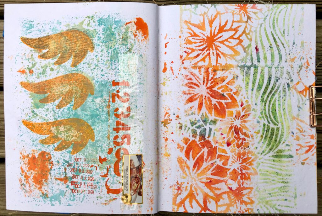 Art Journal Gelpress Wings und Stencils